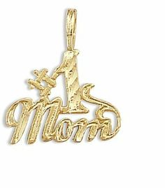 # 1 Mom Pendant 14k Yellow Gold Charm Mothers Day Jewel Roses. $44.00. Save 74% Off!