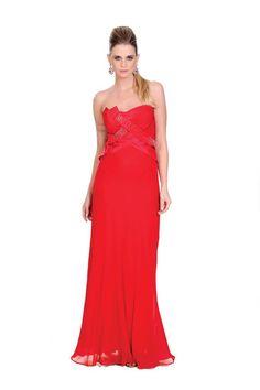 9c38880f3 Vestido longo tomara que caia em seda com aplicaçãõ de strass. Perfeita  modelagem em seda pura. Cod. 101175 #zumzum #zumzumfesta #vestido #festa ...