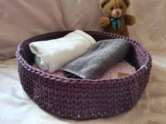 Round Cat Bed Crochet Indoor Small Dog Bed Customized   Etsy Toy Storage Baskets, Kid Toy Storage, Recycled T Shirts, Recycled Yarn, Knitted Cat, Crochet Pet, Dog Cave, Dog Beds For Small Dogs, Bed Lights