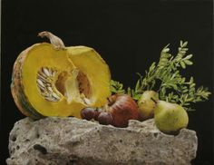 Yellow pumkings - Rafael De La Rica - 60x47 cm - Oil in wood