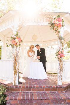 Alta Vista County Club / Photo by Jen Disney Floral by Victoria's Garden Anaheim / Garden Ceremony / Gazebo Ceremony / Orange County Weddings / Sand Ceremony