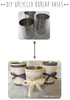 DIY Upcycled Burlap Vases
