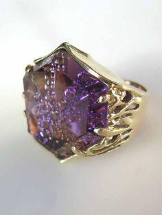 Gold and fantasy cut ametrine custom ring Gold Link Bracelet, Link Bracelets, Crystals And Gemstones, Loose Gemstones, John Dyer, Peridot, Colored Diamonds, Ring Designs, Garnet