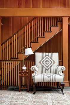 A Pendleton blanket upholsters a wing chair