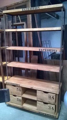 Estante Industrial Madeira E Ferro 4 Caixas 1,96 Altura - R$ 2.460,00 no MercadoLivre
