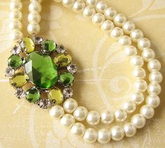 #Lime and #Pearls Bridal Necklace, Wedding Jewelry, Bling Wedding, Dream Wedding, Green Colour Palette, Spring Wedding Colors, Ivory Pearl, Green Necklace, Wedding Accessories