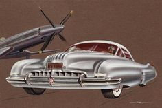 Step back over seventy-five years into the future of Arthur Ross As a Creative Designer for Buick, Chief Designer of Cadillac, and Chief Designer… Diesel Punk, Car Illustration, Retro Futuristic, Car Sketch, Car Drawings, Us Cars, Unique Cars, Automotive Design, Custom Cars