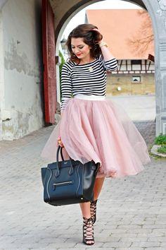 Fashion Hippie Loves: Stripes + Tulle Skirt + Celine