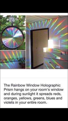 The Rainbow Window Holographic Prism hangs on your room's window and during sunlight it spreads reds, oranges, yellows, greens, blues and violets in your entire room. I so need this for my room Made Design, Hippy Room, Rainbow Room, Rainbow Stuff, Rainbow Light, Creation Deco, My New Room, Light And Shadow, Cool Gadgets