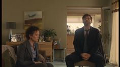 Broadchurch Series 1 Episode 1 Miller and Hardy sitting down with Danny's family for the first time. Olivia Coleman David Tennant