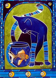 "Cat Cafe, ""The Blue Cat"" Cat art painting by artist Dora Hathazi Mendes titled Blue Cat with Goldfish Illustration Photo, Illustrations, Cat Quilt, Colorful Artwork, Cat Colors, Bright Colors, Blue Cats, Arte Pop, Cat Drawing"
