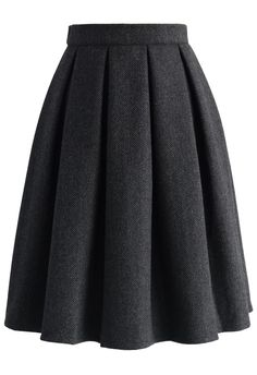 Wool-blend Pleated Twill Skirt
