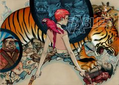 I would like to get this image of Rose Red as a tattoo, making her about the same size as Sher Khan and still having them intersect one another like that! I love Fables!