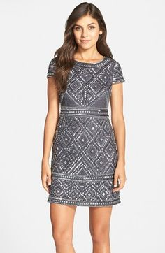 beaded mesh sheath dress @nordstrom #nordstrom