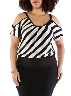 Plus-Size Braided Cutout Shoulder Top $12.99