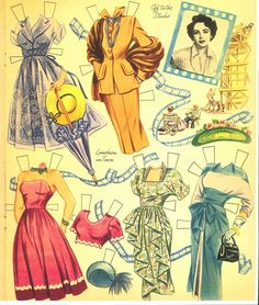 Elizabeth Taylor paper doll clothes / eBay * For lots of free Christmas paper dolls International Paper Doll Society #ArielleGabriel artist #ArtrA thanks to Pinterest paper doll & holiday collectors for sharing *