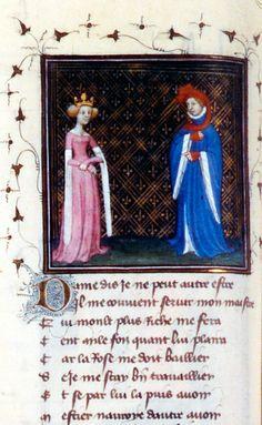 """""""Roman de la Rose"""" Bibliothèque nationale de France Ms fr. 12595, fol. 33v, XVth century"""