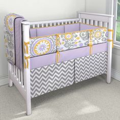 Is it weird I want this for myself? Girl bedding. Purple, yellow and gray.