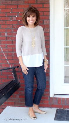 I think this is a Stitch Fix top. I like this faux layering a lot.