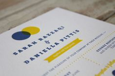 Venn Diagram {Letterpress}  Designed and Printed by Little Peach Co.   Printing: 2 Colour Letterpress on Crane & Co. Lettra 600gsm   How fun is this overlapping letterpress venn diagram? The fresh colours are perfect for Sarah & Daniella's spring wedding in Canada!