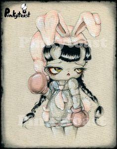 11x14-Bunny Boxer-Girl Fight-Retro Kawaii Vintage Cartoon Inspired-Big Eye Outsider Art-Pinkytoast Print