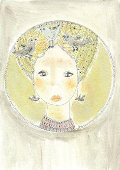 Stampa donna e uccellini   Mandala verde giallo di Donnedispirito