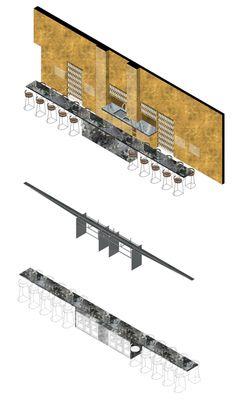 Axonometric. Detail table bar. Le Chabanais by Clement Blanchet. Image © Clement Blanchet Architecture.
