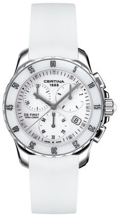 Certina Watch DS First Lady Ceramic Chrono Quartz #bezel-unidirectional #bracelet-strap-rubber #brand-certina #case-material-steel #case-width-34-8mm #chronograph-yes #classic #date-yes #delivery-timescale-7-10-days #dial-colour-white #gender-ladies #movement-quartz-battery #official-stockist-for-certina-watches #packaging-certina-watch-packaging #style-sports #subcat-ds-first #supplier-model-no-c014-217-17-011-00 #warranty-certina-official-2-year-guarantee #water-resistant-100m