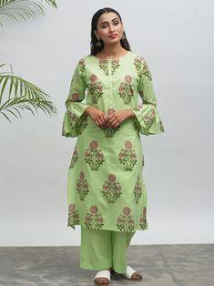 Green Hand Block Printed Cotton Kurta with Palazzo - Set of 2
