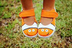 Girl's shoes  Nemo inspired Hand Painted Clown Fish by Snanimals, $27.00