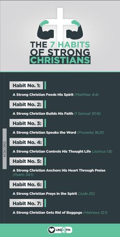 bible When you establish the 7 habits of strong Christians in your life, it will keep you strong, protect you from the enemy, and catapult you to VICTORY. Prayer Scriptures, Bible Teachings, Bible Prayers, Faith Prayer, Bible Verses Quotes, Bible Study Notebook, Bible Study Tips, Scripture Study, Bible Lessons