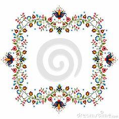 Polish traditional folk pattern - ornamental flower  label