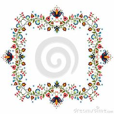 Polish traditional folk pattern - ornamental flower  label