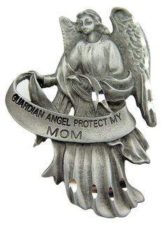 "Religious Mother's Day Gift 2 1/2"" Antique Finish Pewter Guardian Angel Protect My Mom Auto Car Visor Clip Travel Protection WJ Hirten"