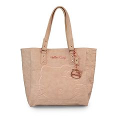 Hello Kitty Blush Embossed Face Satchel With Rose Gold Hang Bag