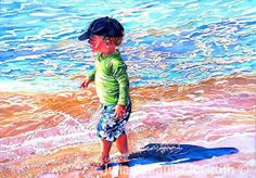 This little guy walking the beach was truly one of my favorites so far to paint.  He was so cute, and really trying to be independent Beach Baby by Julia Dufault McGrath Watercolor ~ 22 inches x 30 inches