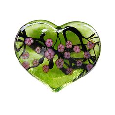 """Cherry Blossom Heart Paperweight - Green"" Art Glass Paperweight  Created by Robert Held on Artful Home"