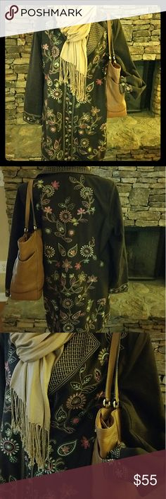Silk Land Brown Fall Jacket  Beautiful Fall Jacket! Silk lining, multi color silk embroidered flowers, beautiful jacket. Pairs well with jeans, boots, also  business causal. Used, however in super condition, no noticeable snags or tears, flowers not harmed... Worn a few times, great for fall seasons Silk Land Jackets & Coats