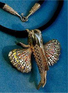 john paul miller.silver.hummingbird.18k gold, enamel by moosoid9, via Flickr