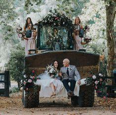 bridal party arriving on a flower-laden tractor Lilac Wedding, Dream Wedding, Wedding Cars, Autumn Wedding, Wedding Couples, Boho Wedding, Tractor Wedding, Farm Wedding Photos, Bridal Pictures