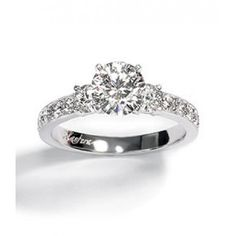 Solasfera Three Stone Pave Engagement Ring Setting
