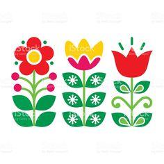 Swedish floral retro pattern - traditional folk art design stock vecteur libres de droits libre de droits