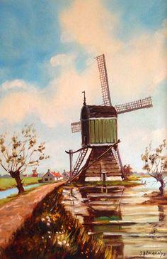 Peinture à l'huile, Moulin à vent néerlandais, signé J. Brocken