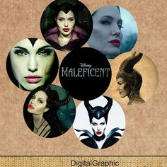 """Maleficent - INSTANT DOWNLOADS -1inch Circles x 30 - Digital Collage Sheet -  1"""" Bottle Cap Images Magnets Stickers (1.99 USD) by DigitalGraphic"""