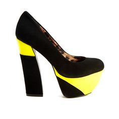 Pre-owned Women's Betsey Johnson Black/Yellow Heels ($45) ❤ liked on Polyvore featuring shoes, pumps, betsey johnson shoes, yellow pumps, betsey johnson footwear, pre owned shoes and black pumps