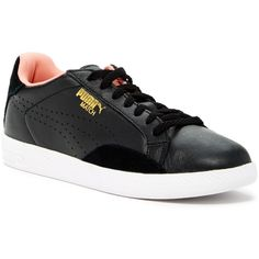 PUMA Match Lo Basic Sports Sneaker (63 CAD) ❤ liked on Polyvore featuring shoes, sneakers, black, lace up sneakers, black leather sneakers, puma trainers, leather sneakers and black lace up shoes