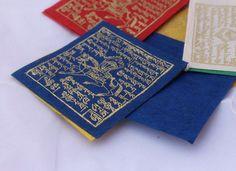 Guirlande de drapeaux de prière fait organique papier népalais, intérieur Prayerflags PF-077