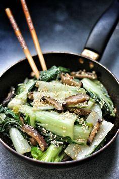 Bok Choy and Shiitake in Sesame Oil