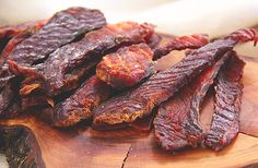 Salmon Jerky Ingredients 1 pound salmon, very cold from the refrigerator to make cutting easier ½ cup soy sauce 2 Tbsp molasses Juice of one lemon 1 tsp smoked paprika