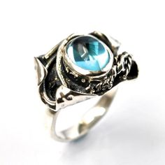 Sterling Silver Blue Topaz Ring. Sustainable Jewelry by Alex Airey. www.alexairey.com